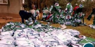 PF campaign materials being sorted in readiness for distribution