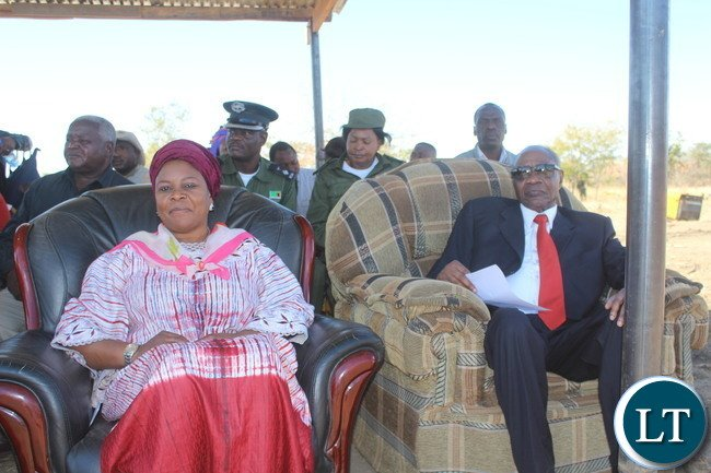 Former First lady Dr Maureen Mwanawasa (seated right) and veteran politician Vernon Mwaanga( seated left) follow proceedings yesterday at the inaugural Samu Lya Moomba Lwiindi Traditional Ceremony of the Tonga speaking people of Choongo chiefdom.