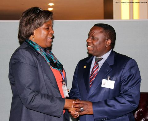 FILE: Zambia's Foreign Affairs Minister Harry Kalaba and USA Assistant Secretary of State for African Affairs Linda Thomas-Greenfield at UN Headquarters 26-09-2014. PHOTO | CHIBAULA D. SILWAMBA | ZAMBIA UN MISSION