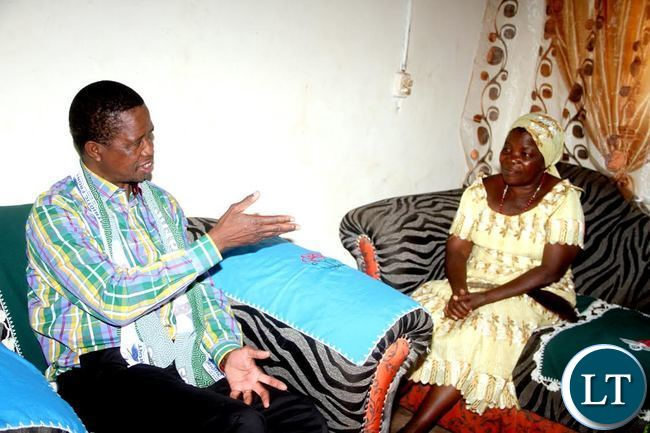 President Lungu when he paid a courtesy call on Chieftainess Mpanshya in Rufunsa District