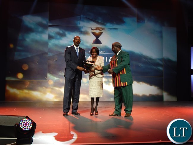 Angolan Minister of Youth and Sport, Mr. Goncalves Muandumba with Zambia's Acting High Commissioner to South Africa Ms. Philomena Kachesa and National Sports Council of Zambia Chairman, Mwamba Kalenga at the African Union Sports Council Regional Annual Sports Awards presentation ceremony in Johannesburg, South Africa on 25th June, 2016.