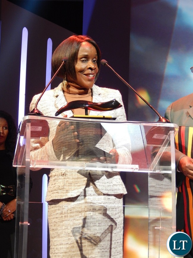 Zambia's Acting High Commissioner to South Africa Ms. Philomena Kachesa speaks after receiving the award at the African Union Sports Council Regional Annual Sports Awards presentation ceremony in Johannesburg, South Africa on 25th June, 2016.