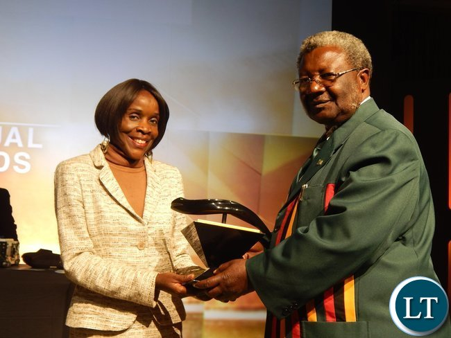 Zambia's Acting High Commissioner to South Africa Ms. Philomena Kachesa and National Sports Council of Zambia Chairman, Mwamba Kalenga at the African Union Sports Council Regional Annual Sports Awards presentation ceremony in Johannesburg, South Africa on 25th June, 2016.