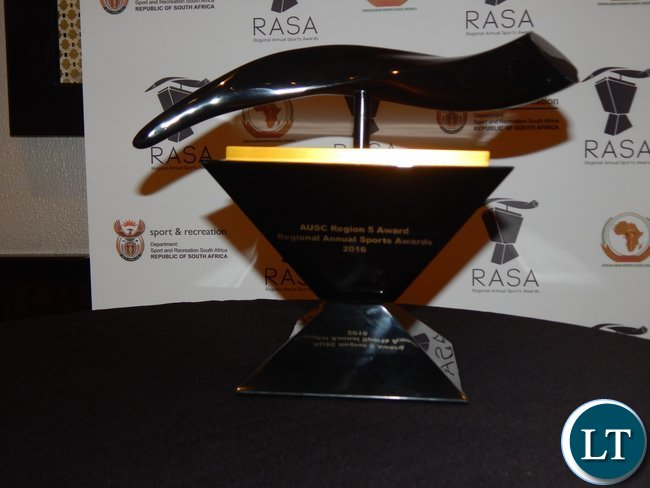 The Chairman's Special Award presented to Zambia at the African Union Sports Council Regional Annual Sports Awards presentation ceremony in Johannesburg, South Africa on 25th June, 2016.