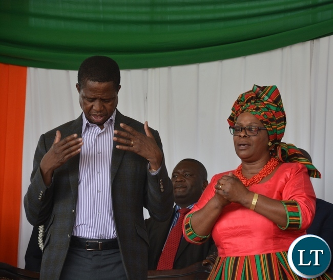President Lungu (r) with the first Lady Ester prays during the nation pray day on peaceful elections at show ground in Lusaka yesterday Picture by Josephine Nsululu/Zanis.