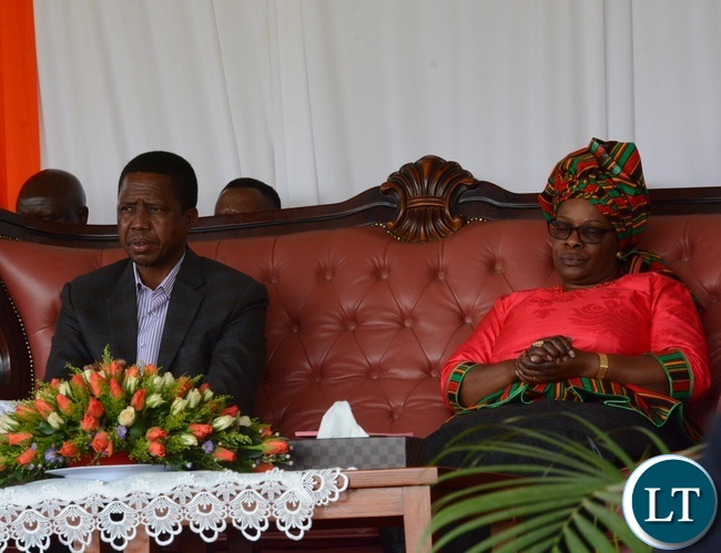 -President Lungu (r) with the first Lady Ester during the nation pray day on peaceful elections at show ground in Lusaka yesterday Picture by Josephine Nsululu/Zanis.