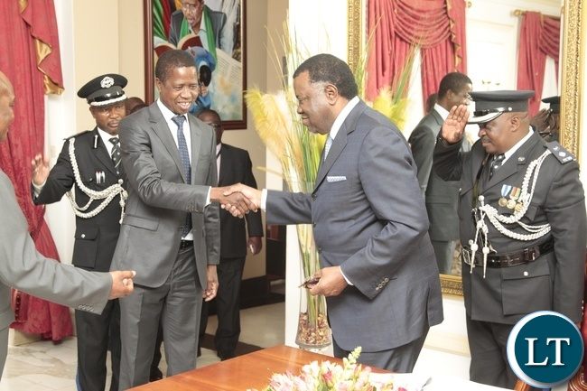 President Edgar Lungu shakes hands with Namibian President Dr. Hage Geingob at State House