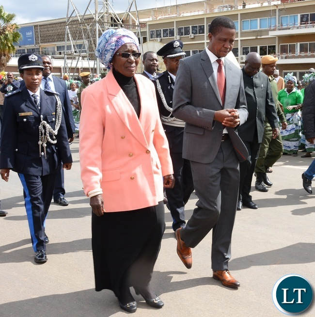 Vice President Inonge Wina(I) Sees off President Edgar Chagwe Lungu (L) before departure for Uganda at Kenneth Kaunda International Airport Lusaka yesterday Picture by Josephine Nsululu/Zanis.