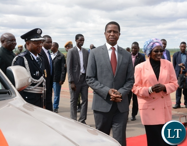 Vice President Inonge Wina(I) Sees off President Edgar Chagwe Lungu (L)before departure for Uganda at Kenneth Kaunda International Airport Lusaka yesterday Picture by Josephine Nsululu/Zanis
