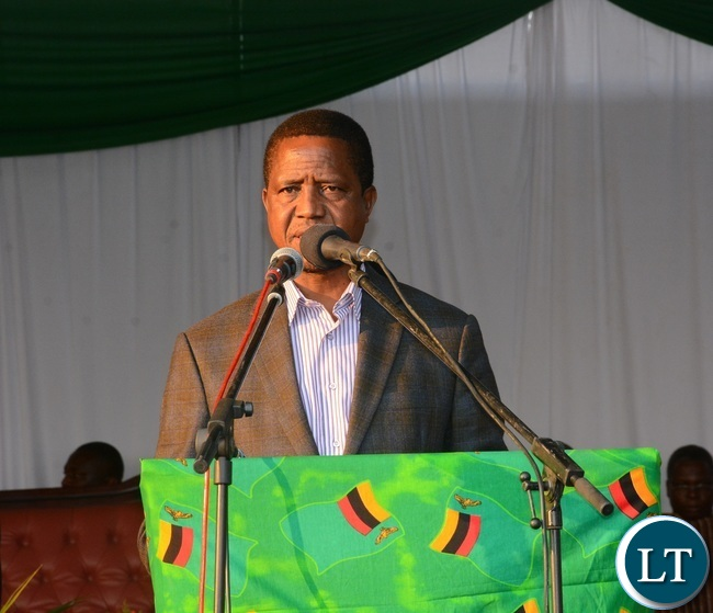 President Lungu Addressees people during the nation pray day on peaceful elections at show ground in Lusaka yesterday Picture by Josephine Nsululu/Zanis.