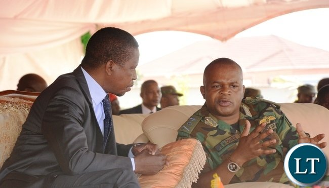 President Lungu(l) confers with Zambia Air force Commander Lt Gen Eric Chimese(r) at Zambia Air Force Headquarters during the official opening of Zambia Air Force Hospital