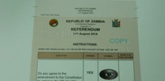 The template of the Referendum ballot paper for the referendum voting in the August 2016 elections.