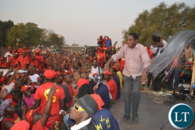 UPND President Hakainde Hichilema and UDF leader Miles Sampa  addressing a rally at Villa Grounds in Livingstone