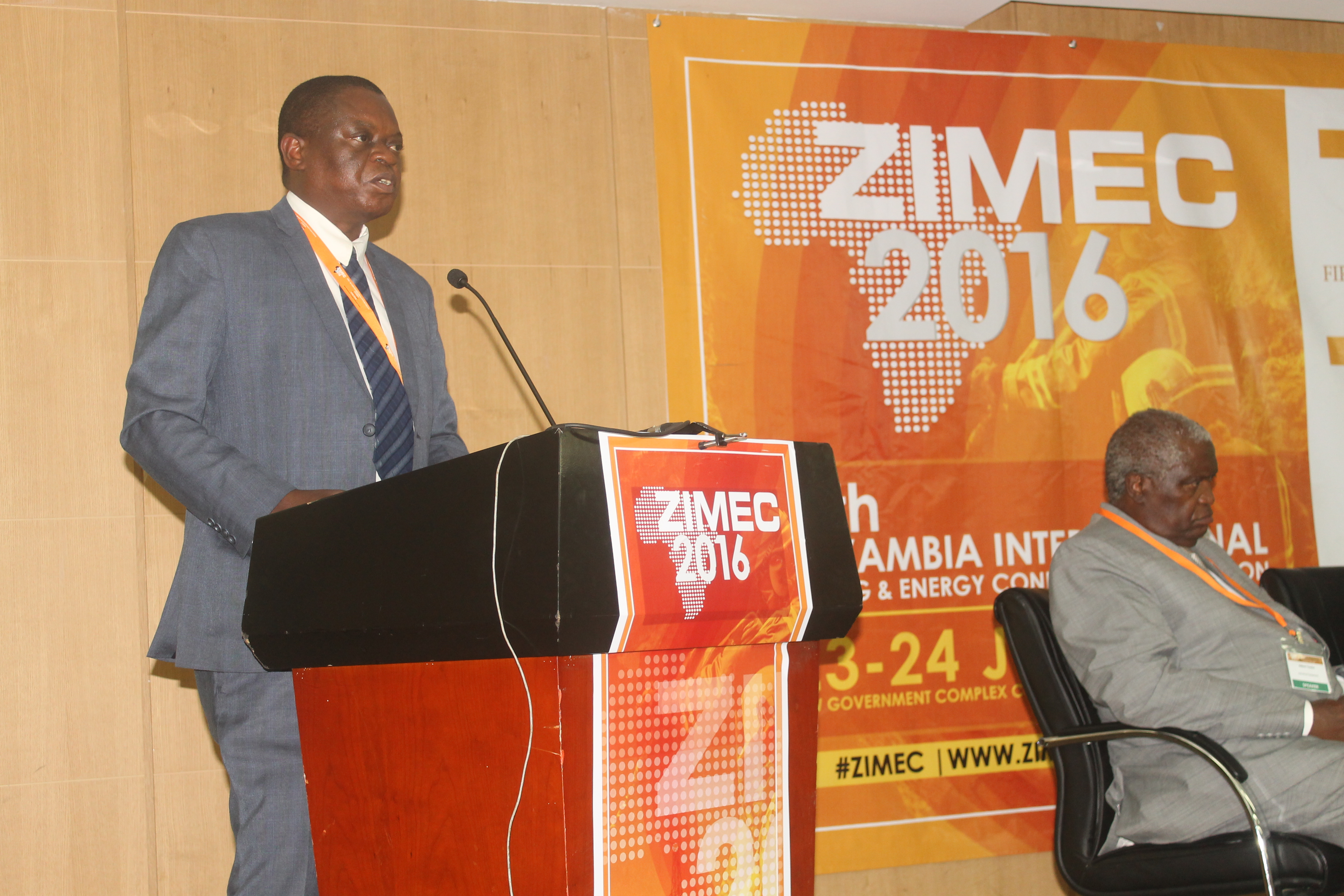 Director of Mines Mr Mooya Lumamba speaks -at -ZIMEC in Lusaka on 23 June. Picture By Hope Mkunte-