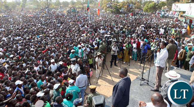 President Lungu address PF Rally at Mporokoso Boma in Nothern Province on Saturday - Picture by Eddie Mwanaleza/Statehouse.