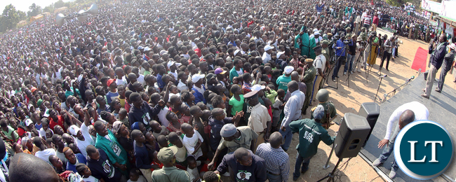 Enock Kavindele at PF Rally at Mporokoso Boma in Nothern Province on Saturday - Picture by Eddie Mwanaleza/Statehouse.