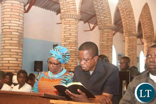 President Edgar Lungu with First Lady Madam Esther Praying in Church at Kayambi Mission - Picture by Eddie Mwanaleza/Statehouse