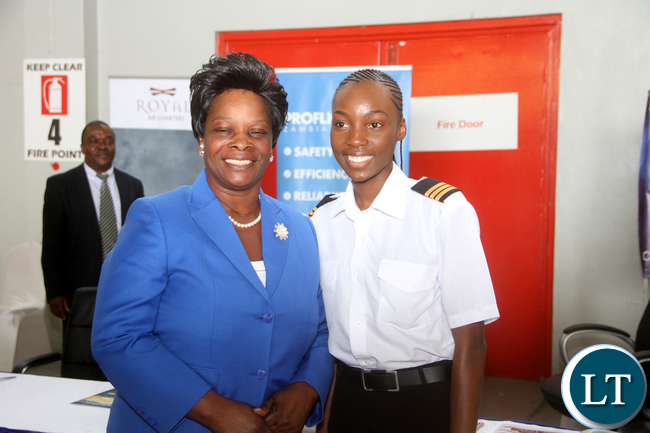 FILE: First Lady Esther Lungu with youngest female Pilot in Zambia Besa Mumba (19) during the Launch of Women in Aviation Zambia Capter at Kenneth Kaunda International Airport -Picture by THOMAS NSAMA