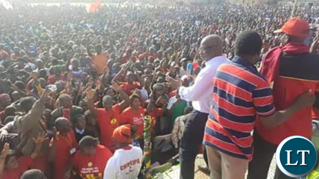 HH and Nevers Mumba addressing a rally in Chingola