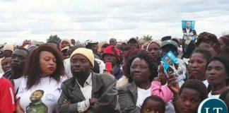 Late Republican Vice President George Kunda's wife Ireen Kunda attends her son's rally in Muchinga
