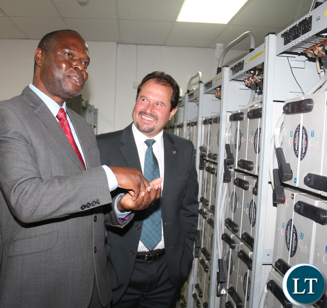 ZNBC DG Richard Mwanza with Airtel Zambia CEO Peter Correia as the Mr Mwanza takes his time to tour Airtel Head Office: Network Center on Wednesday , July 13th 2016