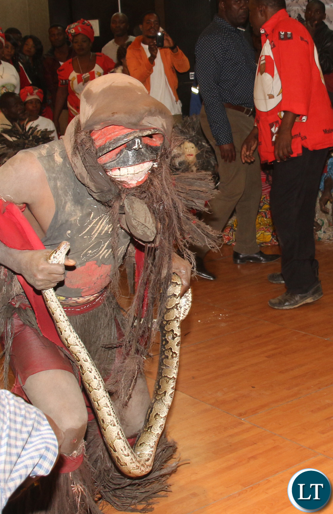 Nyau dance and snake charmer during the event