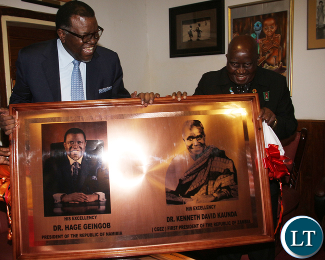 KK confers with Namibia President President. Hage Geingob at his Kabulonga office. Picture By Jean Mandela