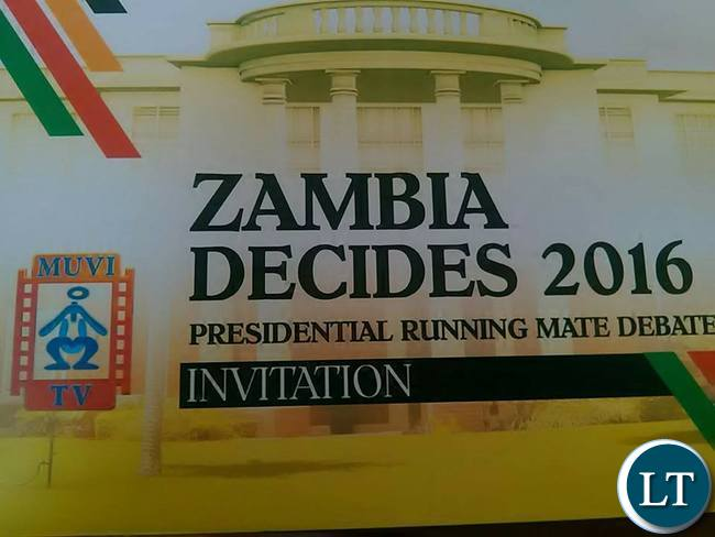 Invitation card to the running mate debate