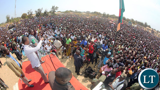 President Edgar Lungu address a public rally at Kaputa on Saturday - Picture by Eddie Mwanaleza/Statehouse.