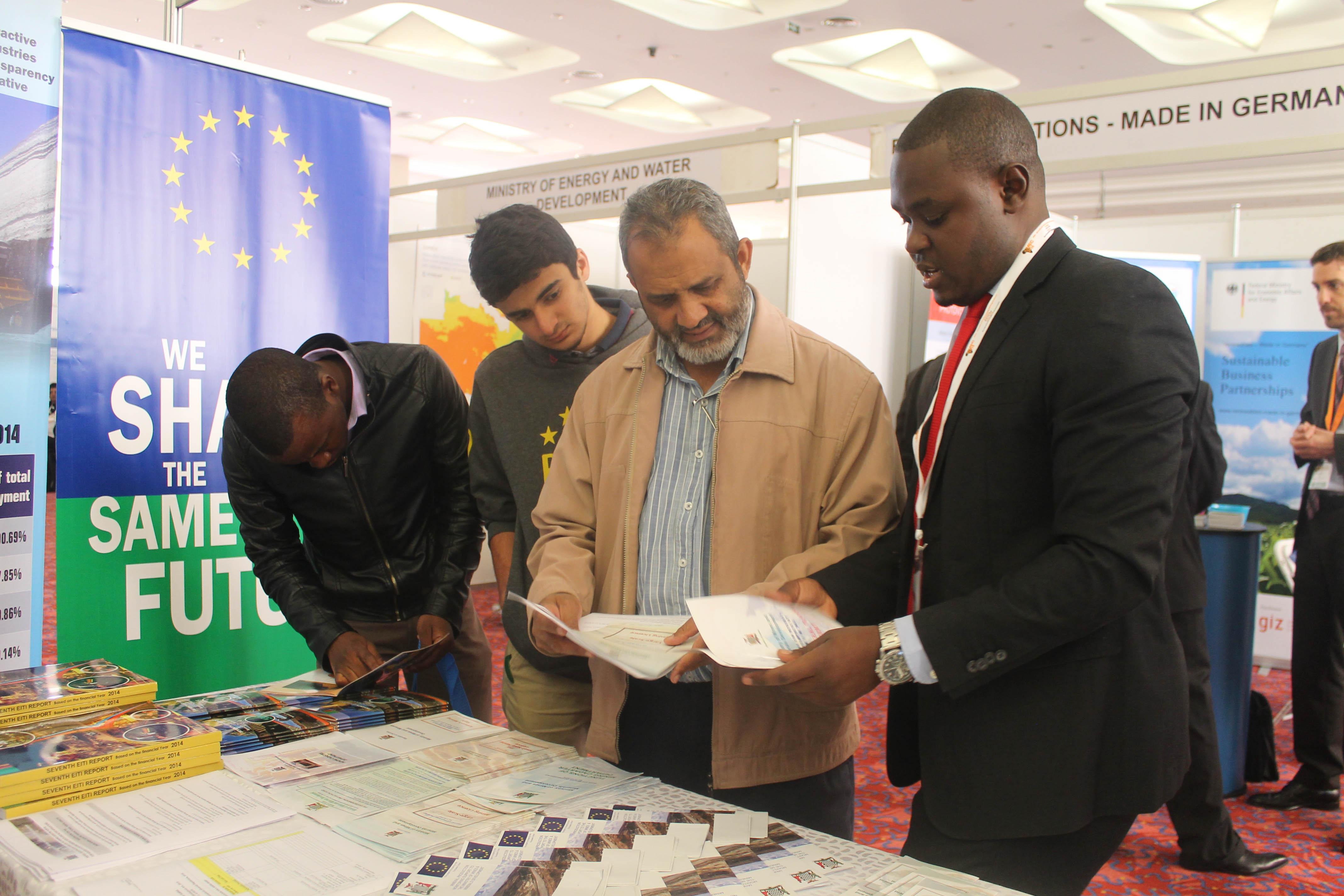 Mining Engineer Alexander Nyirenda talks to visitors at ZIMEC in Lusaka on 23 June. Picture By Hope Mkunte