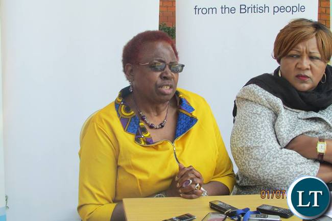 Mrs Sarah Longwe during the press briefing