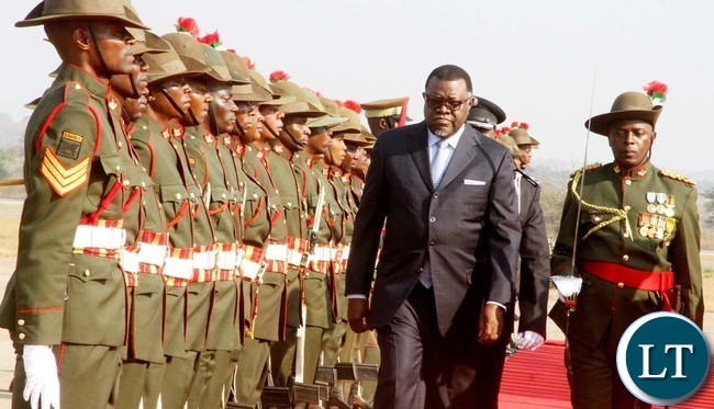 Namibian President Hage Geingob inspects a guard of honour on arrival at Kenneth Kaunda International Airport for the official opening of the Agricultural and Commercial Show on Friday, July 29,2016-Picture by THOMAS NSAMA