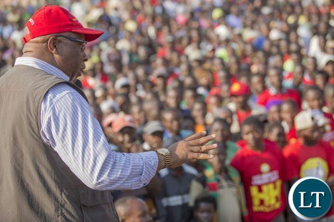 Nevers Mumba addressing a rally in Mwense