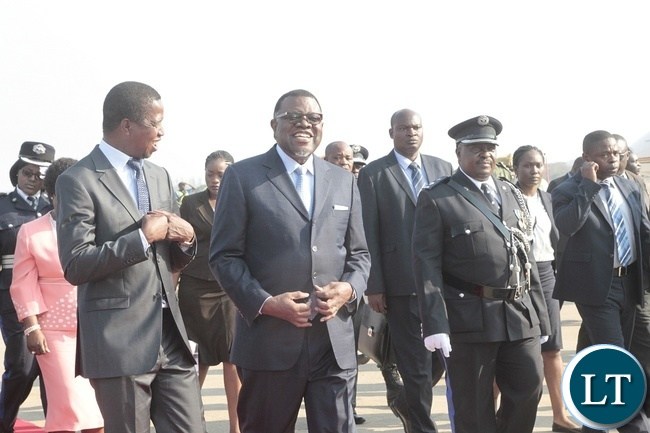 PRESIDENT of Zambia, Edgar Lungu confers with his counterpart of Namibia, Hage Geingob upon arrival at Kenneth Kaunda International Airport.