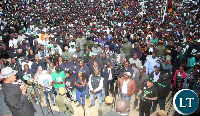 President Lungu addresses a mammoth rally in Katuba on July 13,2016 -Pictures by THOMAS NSAMA