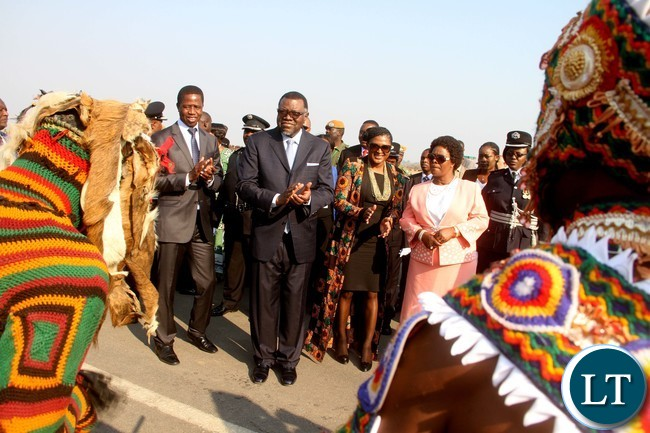 President Lungu with First Lady Esther Lungu and Namibian President Hage Geingob with his wife being entertained by Vimbuza dancers on arrival at Kenneth Kaunda International Airport for the official opening of the Agricultural and Commercial Show on Friday, July 29,2016-Picture by THOMAS NSAMA