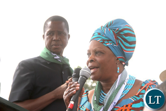 President Lungu and First Lady Esther Lungu addresses a rally at Kayambi in Malole Constituency on Sunday, July 17,2016 -Picture by THOMAS NSAMA