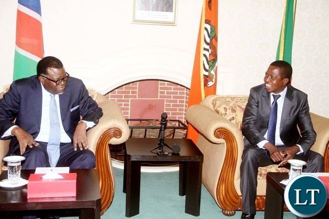 President Edgar Chagwa Lungu during a meeting with Namibian President Hage Geingob at State House on Friday, July 29,2016-Picture by THOMAS NSAMA