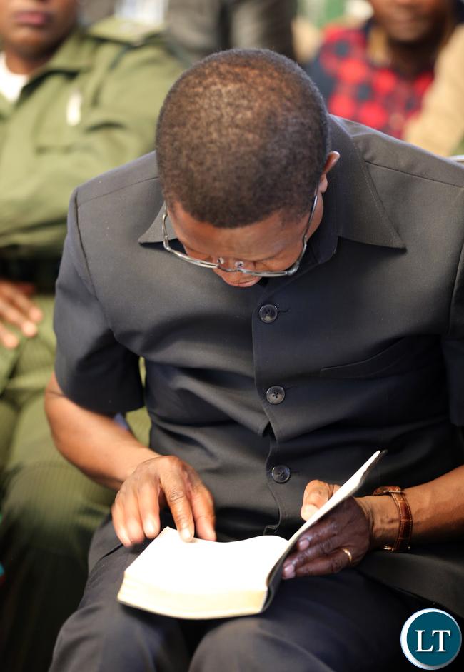 President Edgar Lungu Praying in Church at Kayambi Mission6