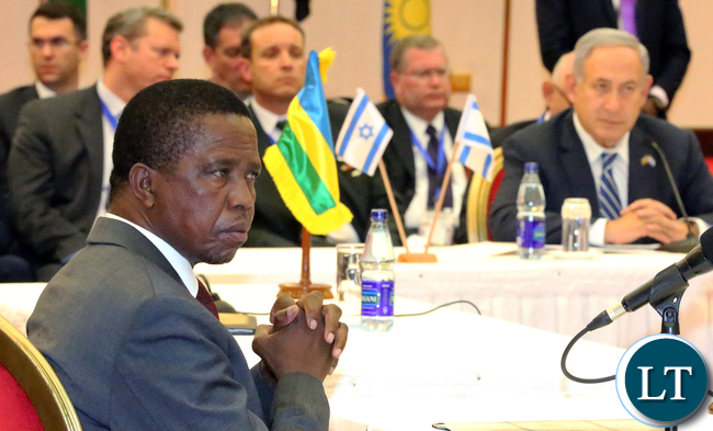 President Edgar Lungu at the Regional Summit Meeting in Uganda on Monday with Israel Prime Minister Mr Netanyahu.-USE_1216