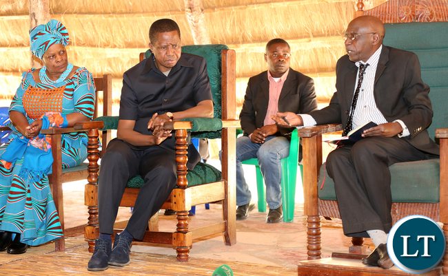 President Edgar Lungu listens to Mwine lubemba at the Palace in Mungwi