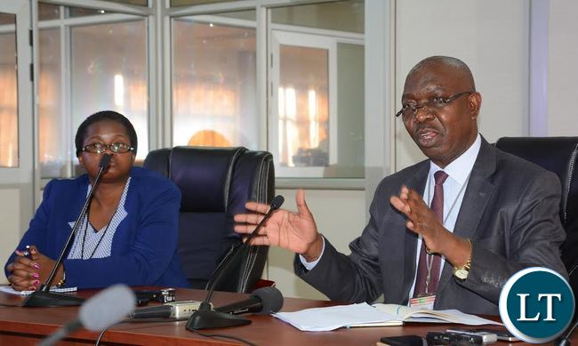 Electoral Commission of Zambia Public Relation Manager Chris Akufuna(r) and United Nation Development Program Media and Communication Specialist Sylvia Namuju(l) during a press briefing at the Electoral Commission of Zambia offices in Lusaka