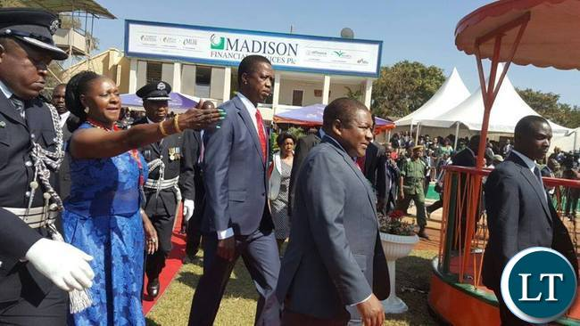 President Lungu and Mozambican President Filipe Nyusi being ushered by Commerce minister Margaret Mwanakatwe during the official opening of Trade Fair