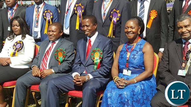 President Lungu with Mozambican President Filipe Nyusi and Commerce minister Margaret Mwanakatwe during the official opening of Trade Fair on
