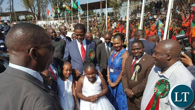 President Lungu with Commerce minister Margaret Mwanakatwe (third from right) ,Foreign Affairs Minister Harry Kalaba (second from right) and Copperbelt minister Mwenya Musenge (r) during the official opening of Trade Fair