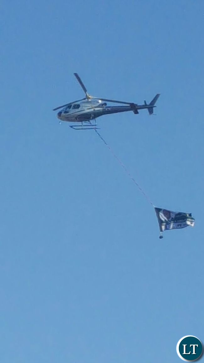 PF Choppers flying over UPND Rally