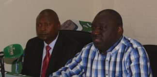 -Patriotic Front General secretary Davies Chama (R) ,Patriotic Front Deputy Spokesperson Frank Bwalya during a press briefing at Pf secretariat head quarters in Lusaka