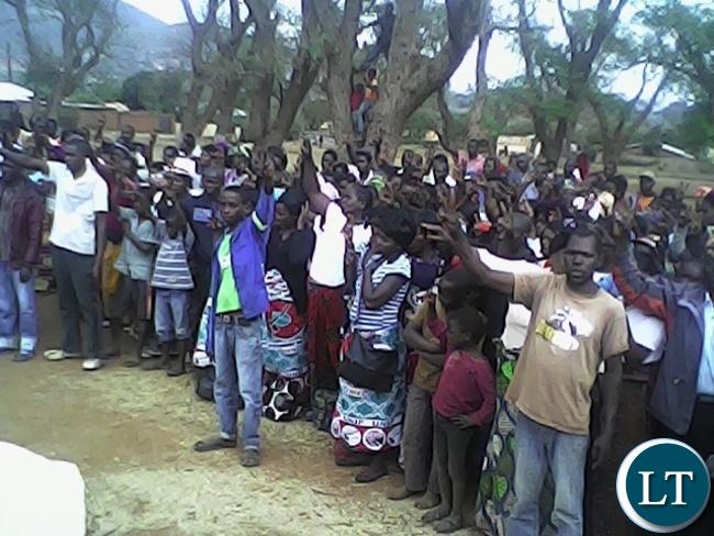 UNIP public rally at Mpezeni park square in Chipata yesterday.Party presidential hopeful Tilyenji Kaunda address the meeting.