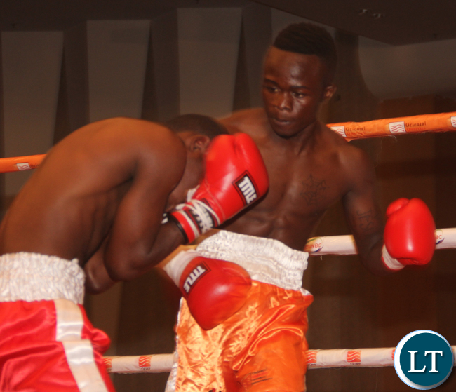 Alfred Muwowo during the fight against Tanzaniana Mohamed Alkaida that was won by the former; it was an Intentional Flyweight Bantamweight not title bout 6 rounds.