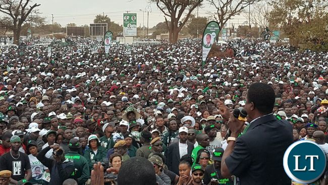 President Lungu addressing the final PF rally at Woodlands Stadium grounds